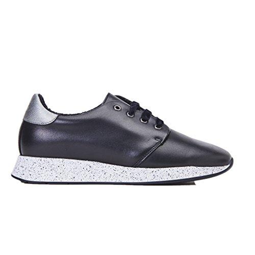 FRAU Sneakers Donna, Nero Pelle con Laccio, Nuova Collezione Autunno Inverno 2017/2018