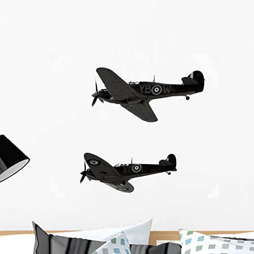 Wallmonkeys Historic Ww2 Aircraft Spitfire Wall Decal Sticker Set Individual Peel and Stick Graphics on a (24 in W x 20 in H) Sticker Sheet WM258590