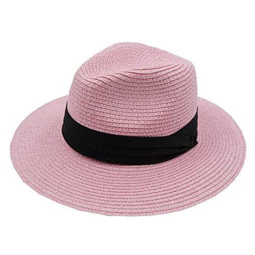 Home Prefer Womens Straw Sun Hat Wide Brim Summer Beach Cap Fedora Hat Pink]()