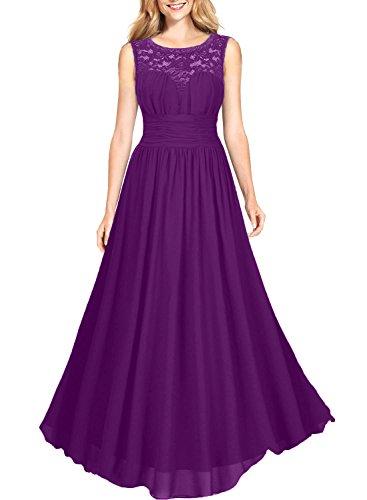 Violett A Linie Jugendweihe Brautmutterkleider Chiffon La Kleider Abschlussballkleider Brau Promkleider mia Elegant Abendkleider Spitze axOw6P
