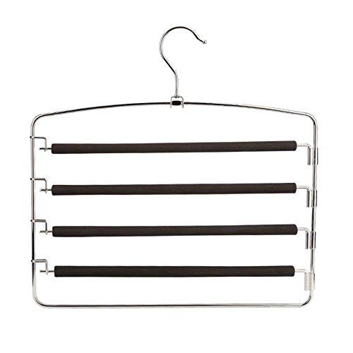 Hodleys Pants Hangers 2 Pack,Multi Layers Metal Pant Slack Hangers, Space Saver Storage Pant Rack,Swing Arm Slack Non-slip Foam Padded Closet Storage for Jeans Trousers, Skirts,Scarf (Black)