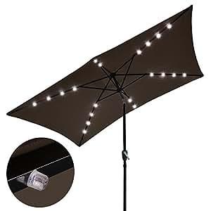 Paraguas solar LED de aluminio con manivela inclinable para jardín, al aire libre, chocolate con libro electrónico de 25,4 x 16,5 cm