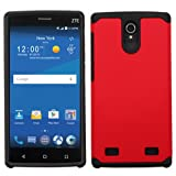 Asmyna Cell Phone Case for ZTE Z958 - Retail Packaging - Black/Red