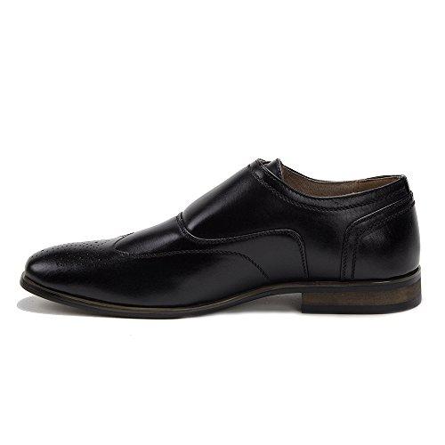 Nuevo Hombres 95208 Con Forro De Cuero Perforado Brogue Wing Tip Monkstrap Zapatos De Vestir Negro