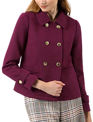 uble Breasted Winter Pea Coat XL Burgundy ()