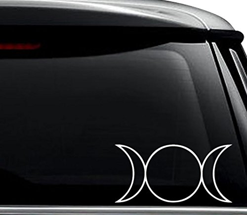 Triple Goddess Moon Symbol Decal Sticker For Use On Laptop, Helmet, Car, Truck, Motorcycle, Windows, Bumper, Wall, and Decor Size- [8 inch] / [20 cm] Wide / Color- Gloss (Moon Motorcycle Helmet)