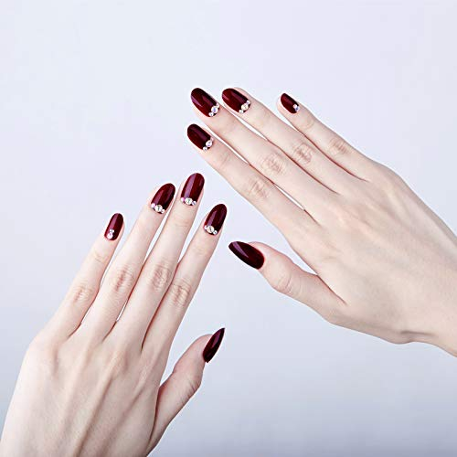 Meili 24Pcs Long Round Head Fake Nails Wine Red Acrylic Wedding Nail Tips With Adhesive Sticker Bling Diamond Full Artificial ()