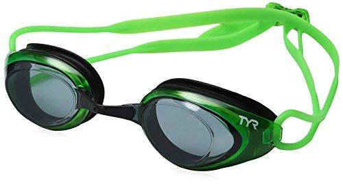 (TYR Blackhawk Racing Googles, Smoke/Fluro Green/Black, One Size)