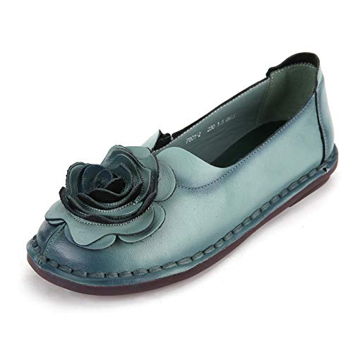 shoes soft sole shoes FLYRCX women shoes shoes work D Leather pregnant single comfortable flowers handmade retro 6wwqAFPUR