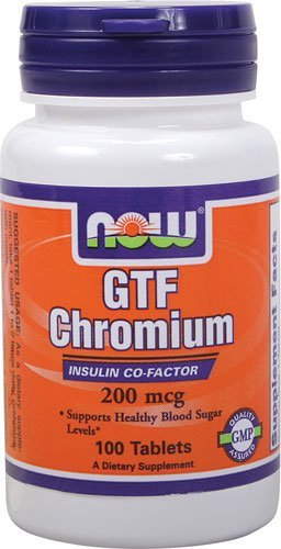 Now Foods GTF Chromium 200 mcg Yeast Free - 100 Tabs (Chromium 100 Tabs)