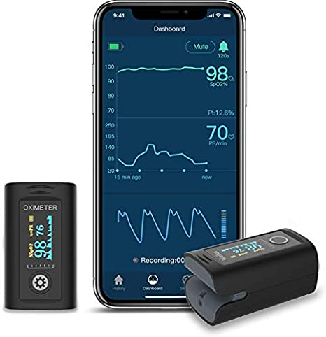 Oxímetro de pulso con APP para adultos y niños, Monitoreo de la saturación de oxígeno para la saturación de oxígeno en la sangre de la frecuencia cardíaca (incluye estuche y cordón) (Oxysmart-03-B)