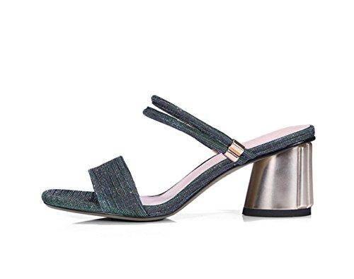 Outdoor Arrière de de Dames ZXMXY 3 Porter Sandals à Bloc Façons Partie Talon Sandales Ouvert Lanières Vert Womens Chaussures zIzqa