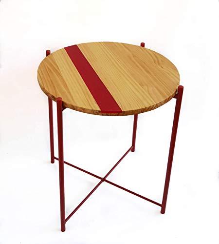 Mesa auxiliar redonda, madera de pino con resina roja, patas metal ...