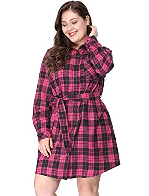 Agnes Orinda Women's Tie Waist Plus Size Long Sleeves Shirt Plaids Dress
