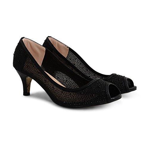 Footwear Sensation - Zapatos de tacón mujer Black Metallic Mesh