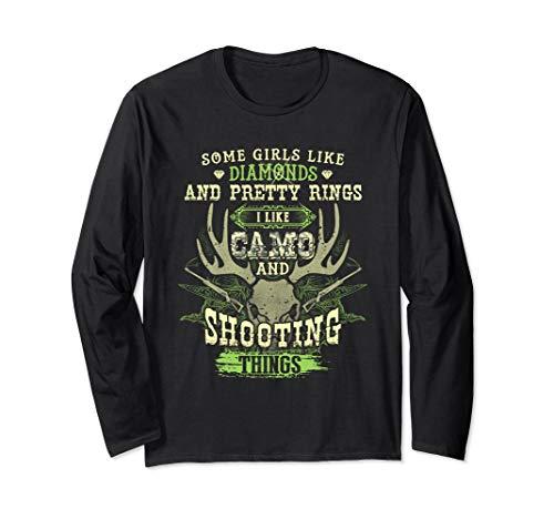 Womens I like Camo and shooting things Rifle Deer Hunting Long Sleeve T-Shirt