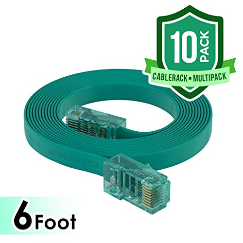 CableRack 6ft Rollover Console Cable RJ45 to RJ45 Male for Cisco 72-3383-01 Green (10-Pack)