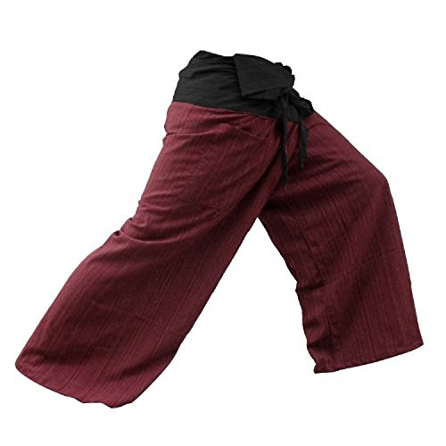 2 Tone Thai Fisherman Pants Yoga Trousers, Burgundy/Charcoal, One Size Fits Most (Lawn Gnome Costume)
