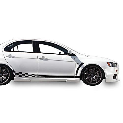 Bubbles Designs Decal Sticker Vinyl Side Wavy Finishing Stripe Kit Compatible with Mitsubishi Lancer Evolution X 10 2005-2016 (Black)