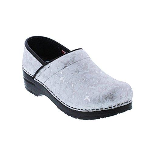 Sanita Women's Original Pro. Daisy Metallic Clog, White, 39 M EU (8-8.5 US) (Daisy Clog)