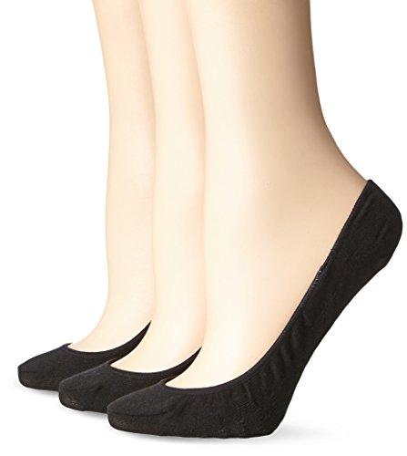 No Nonsense Women's Hidden Cotton Liner Sock with Massaging Sole 3-Pack, Black, 4-10