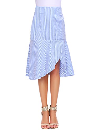 Zeagoo Women's Vertical Stripe Side Slit Ruffle Hem A-line Midi Skirt (M, Blue)