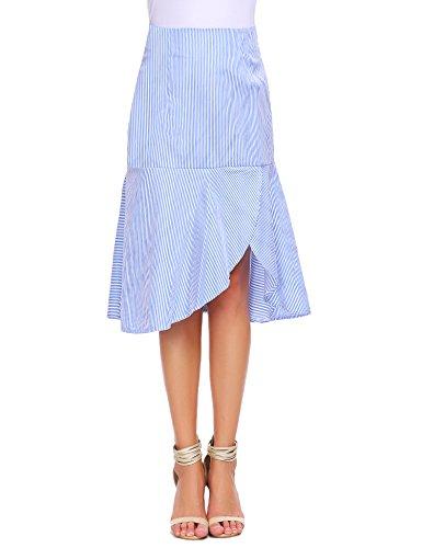 Zeagoo Women's Vertical Stripe Side Slit Ruffle Hem A-line Midi Skirt (L, Blue) ()