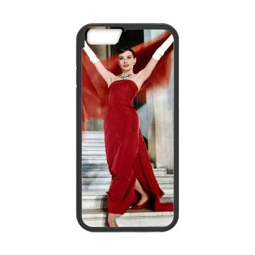Audrey Hepburn coque iPhone 6 4.7 Inch Housse téléphone Noir de couverture de cas coque EBDOBCKCO13298