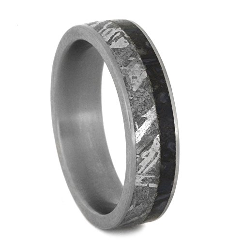 Dinosaur Bone, Gibeon Meteorite 6mm Comfort-Fit Matte Titanium Wedding Band, Size 10 by The Men's Jewelry Store (Unisex Jewelry)