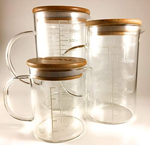 3-Piece Glass Beaker Set with Handles and Lids