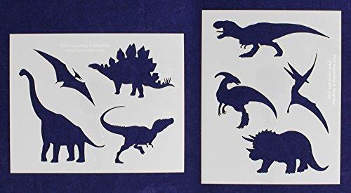 Dinosaur Stencils - 2 Piece Set - 8 x 10 Inches