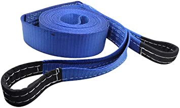 26.24ft 8m DiversityWrap 7T Tow Strap Heavy Duty Tow Rope Towing Pull Strap Recovery Winch 4x4 Offroad With 2x Shackles Blue