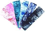 Qiorange Tie Dye Headbands Cotton Stretch Headbands Elastic Yoga Hairband for Teens Girls Women Adults, Assort
