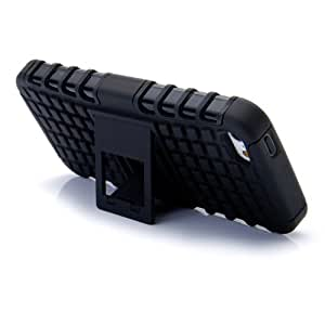 Heavy Duty Hybrid High Impact Armor Defender Case Combo with stand for Apple iPhone 5/5S (Black)