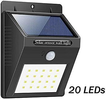 Lámpara solar LED para jardín, resistente al agua, con sensor de movimiento, luces solares recargables para exteriores, iluminación de carril, decoración de luz de calle: Amazon.es: Iluminación