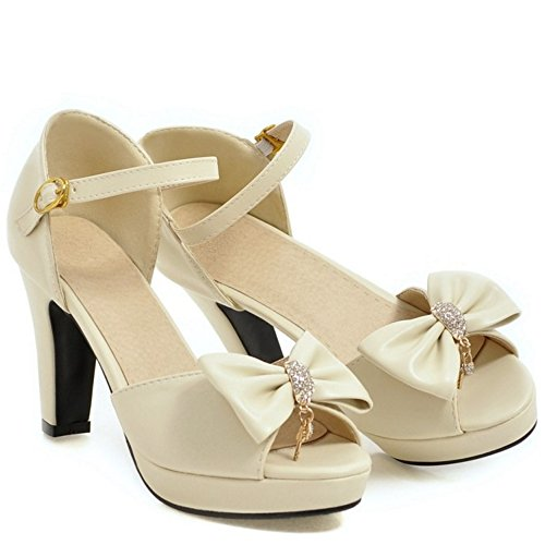 COOLCEPT Mujer Western Tacon Ancho Alto Peep Toe Ankle Strap Sandalias With Bowknot Beige