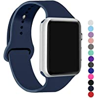 ic6Space Band Compatible for Apple Watch 38mm or 42mm, Premium Soft Silicone Sports Replacement Strap for iWatch Series 3 Series 2 Series 1 (Midnight Blue, 38mm-m/l)