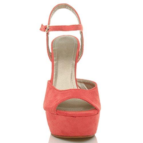 Talon Corail Femmes Pointure Sandales Lanières Chaussures Boucle À Hauts Cheville Zqv5Kgq