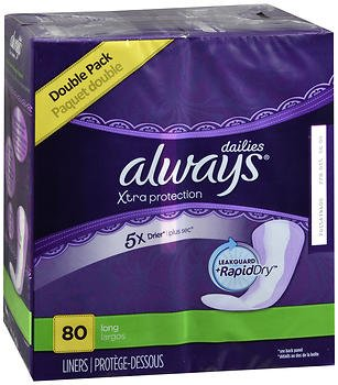 Always Xtra Protection Dri-Liners Pantiliners Long - 4pks of 80ct, Pack of 6