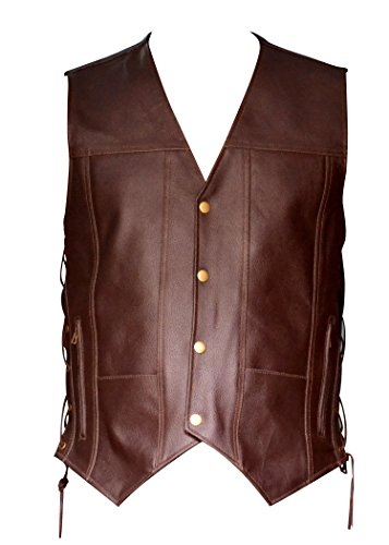 Men's Brown Leather 10 Pockets Motorcycle Biker Vest New All Sizes (XX-Large (Chest 48-50