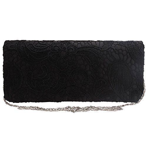 Stylish Party Prom Purple Shoulder Bag Envelope Lace Clutch Women Bag Bag Wedding Black Cckuu Udax6FF