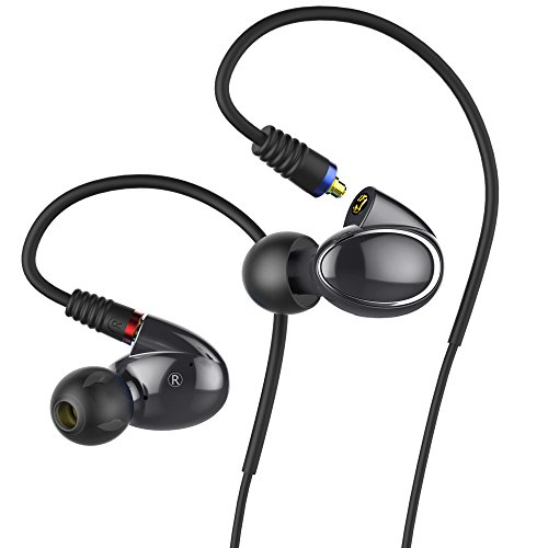 FiiO FH1 Dual Driver Hybrid Over The Ear Headphones/Earphones/Earbuds in-Ear Monitors with Android Compatible Mic and Remote (Black)