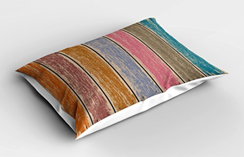 Lunarable Wood Print Pillow Sham, Watercolor Effect on Rustic Boards Grunge Weathered Timber with Worn Out Paint, Decorative Standard Queen Size Printed Pillowcase, 30 X 20 inches, Multicolor by Lunarable (Image #1)