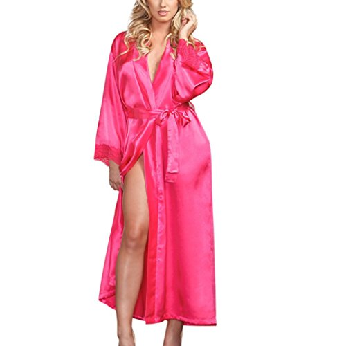 (Women Lingerie Sexy Long Silk Kimono Dressing Gown Babydoll Lace Bath Robe For Wedding Party Birthday (Free Size, Hot pink))