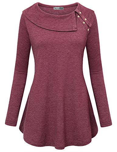 Miss Fortune Women Long Sleeve Cowl Neck Flowy Tunic Top with Pockets (Wine, Medium)