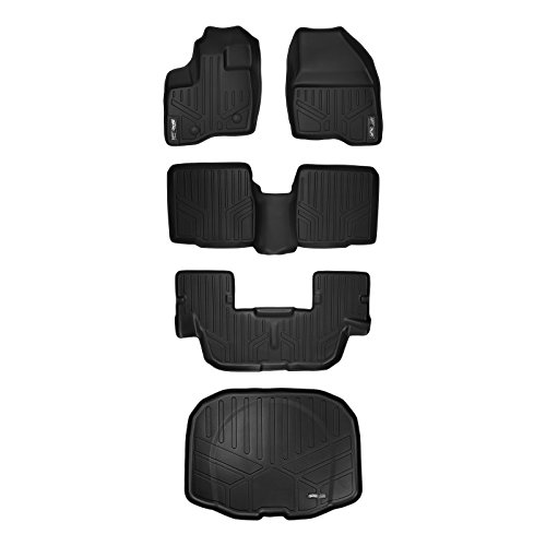 MAX LINER A0082/B0082/C0082/E0082 MAXFLOORMAT Floor Mats (3 Set) and MAXTRAY Cargo Liner Ford Explorer (W/O 2nd Row Center Console) 2011-2014 (Black) ()