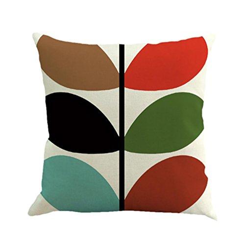 KMG Kimloog Throw Pillowcase,Geometric Pattern Solid Linen C