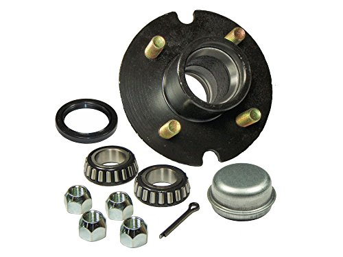 Rigid Hitch Trailer Hub Kit (BT-100-22-A) 4 Bolt on 4 Inch Circle - 1-1/16 inch I.D. Bearings ()