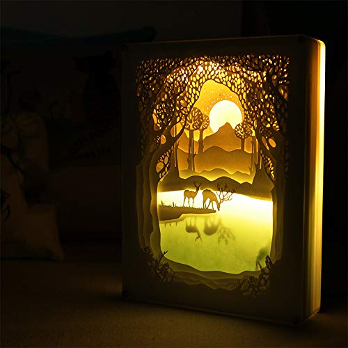 EFGS 3D Paper Carving Lamp, Stereo Creative Remote Paper-Cut Light Box Shadow Light Warm Romantic Atmosphere Halloween Christmas ()