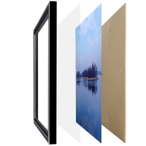 Aynoo 17 by 11 Poster Picture Frame Black Legal Sized Paper to Display 11x17 inch Picture Photo (Without Mat) Memorabilia, Certificates, Awards, Medals and Photos Wall Mounting Frame P8H